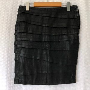 7 FOR ALL MANKIND coated denim tiered pencil skirt